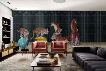 TIGERS papier peint décor cirque tigres LONDONART