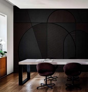 Papier peint noir motifs LOOPHOLE LONDONART