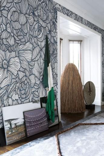 Papier peint fleurs noir & blanc IMPETRO LOST LONDONART