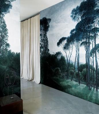 NIGHTCALL papier peint motifs arbres pins LONDONART