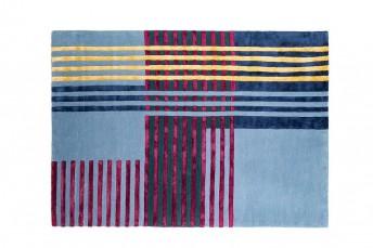 Tapis design contemporain bleu MAILLET laine de viscose LONDONART