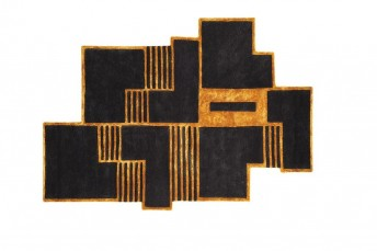 BIBA tapis design contemporain noir & or LONDONART