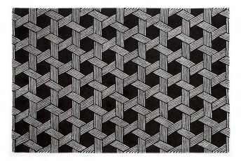 Tapis monogramme noir & blanc MONORIGAMY LONDONART