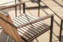 Fauteuil lounge extérieur de terrasse AXIS en métal acier de couleur et bois massif