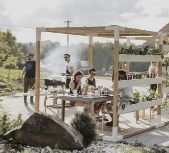 LEVA module tonnelle de jardin cube mélèze & acier