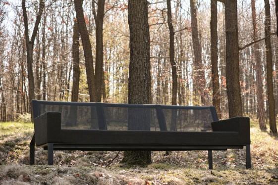 Canapé 3 places MOJA, extérieur de jardin en métal acier de couleur et tissu outdoor