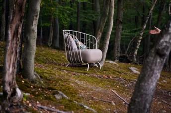 Fauteuil MAJ extérieur de jardin en métal acier de couleur et tissu outdoor