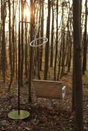 Fauteuil PRÉVA, extérieur pour terrasse en métal acier de couleur et en bois massif