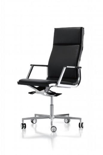Fauteuil de bureau dossier haut en cuir noir NULITE, rembourrage assise et dos