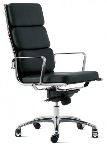 Fauteuil bureau assise rembourrée en cuir noir, dossier haut LIGHT