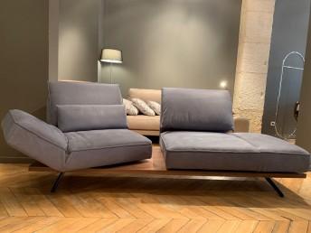 Canapé 2 places design relax assises pivotantes IDOLATION en cuir Vintage des Indes bleu