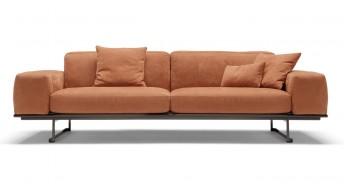 Canapé 3 places SUGAR.BL base en métal, tissu ou cuir