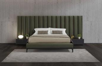 Lit design très grand tête de lit tapissée SUBLIMATION base bois frêne ou noyer