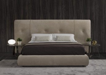 Lit design LOVE.U.BABE tête de lit large tapissée cuir, tissu ou nubuck