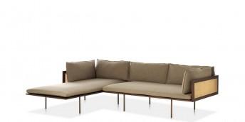 Canapé POTOCCO acajou design LOOM d'angle avec cannage, version chaise longue
