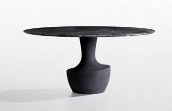ANFORA, table en marbre gris ou blanc POTOCCO, pied résine sablée
