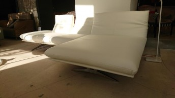 AD.SENSO, canapé d'angle 2,5 places chaise longue droite cuir blanc