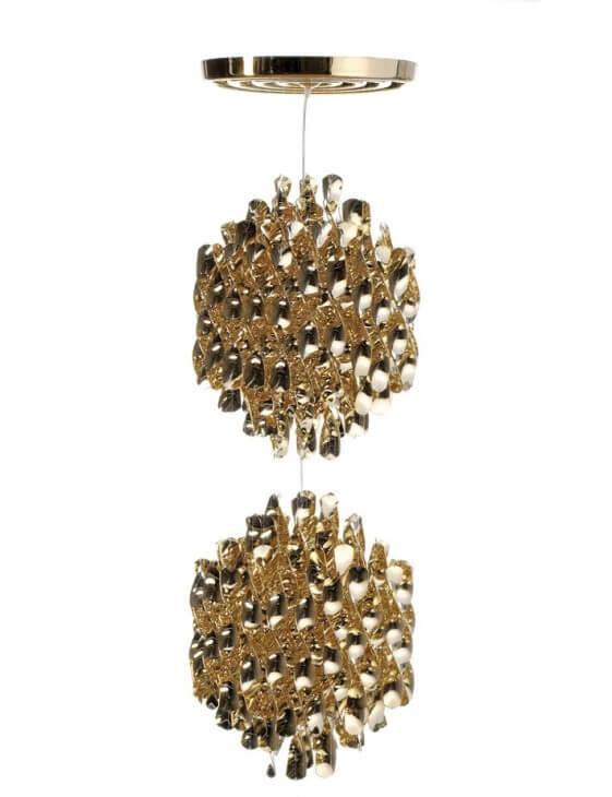 Plafonnier double spirale dorée Verpan SP2