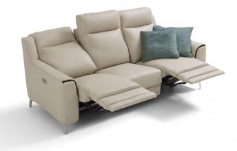 Petit canapé relax 3 places LADY.J.RELAX en cuir ou tissu