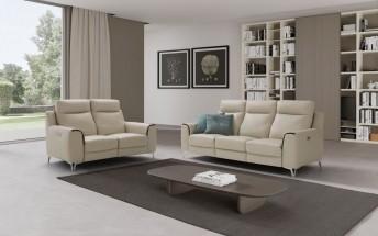 Salon relax en cuir canapés 3 + 2 places LADY.J.RELAX électriques