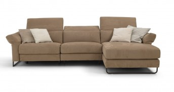 Canapé d'angle 4 places chaise longue JAHNY.L, cuir ou tissu