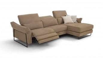 Canapé d'angle 4 places relax électrique JAHNY.L, cuir ou tissu