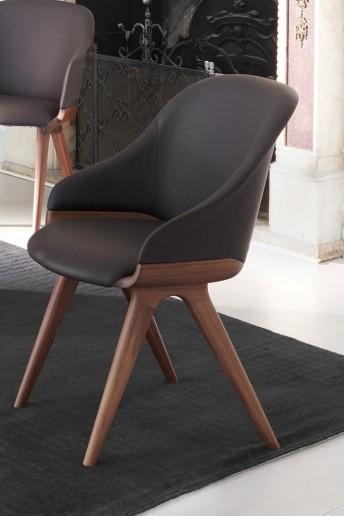 LYZ chaise pieds & base en bois de noyer Canaletto véritable POTOCCO