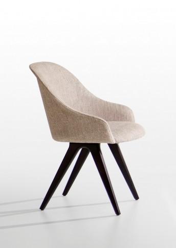 Chaise tapissée LYZ pieds bois de frêne ou noyer Canaletto POTOCCO