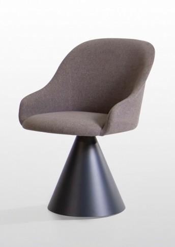 Chaise LYZ POTOCCO base conique pivotante métal tissu, cuir ou nubuck