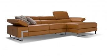 Canapé d'angle 4 places chaise longue DIAMOND.L, cuir ou tissu
