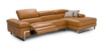 Canapé d'angle relax 4 places chaise longue DIAMOND.L.RELAX, cuir ou tissu