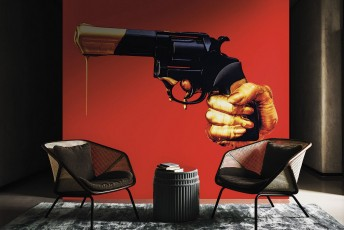 Papier peint revolver NO ARMY TOILETPAPER LONDONART