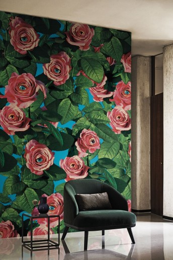 EYES AND ROSES papier peint LONDONART floral design TOILETPAPER