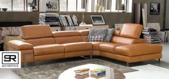 Canapé d'angle 5 places contemporain DIAMOND.L, cuir ou tissu