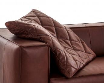 Coussin cuir ou tissu plat piqué 60 x 60 cm FURYO-LOUNGE carré