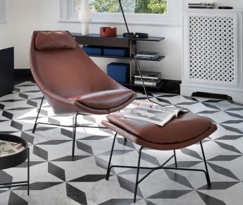 Fauteuil CUT lounge POTOCCO + repose-pieds
