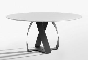BON BON table ronde en verre, marbre ou noyer design 160 cm POTOCCO