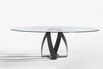 Table ovale en verre BON BON 230 x 130 cm design