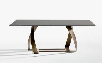BON BON table rectangulaire 250 x 110 cm marbre & laiton