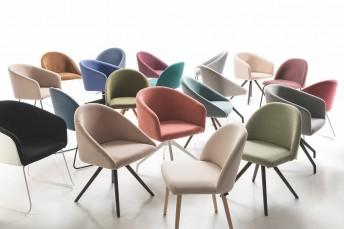 BLOOM chaise coque tapissée design LUXY, pieds au choix
