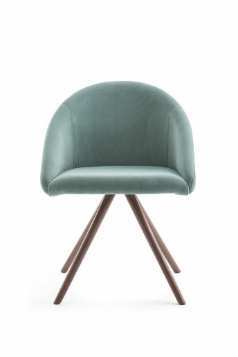 Chaise à coque tapissée BLOOM M semi-ouverte, LUXY