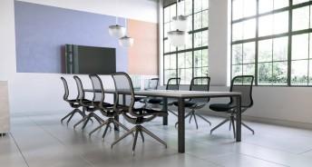 Chaise de réunion ou fauteuil visiteur en maille noire SIOUXIE