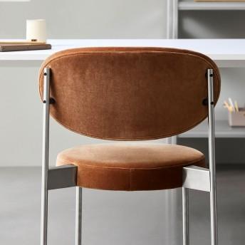 Lot de 2 chaises SERIES 430 en tissu Kvadrat Raf SIMONS Harald 3, 4 pieds en acier inoxydable brossé