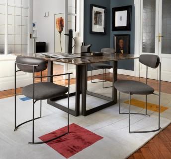 Chaise design KEEL métal & bois tapissée, avec ou sans accoudoirs
