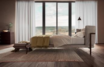 BAY.MOOD lit design tapissé tissu, cuir ou nubuck & bois