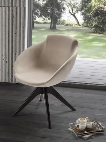 BASEBALL petit fauteuil pivotant rond en cuir, nubuck ou tissu & bois de frêne