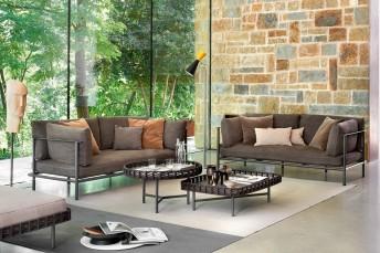 Canapé cuir ou tissu cadre métal 2 places ELODIE