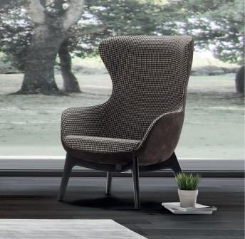 ARMAND.H, fauteuil coque egg pieds bois frêne tapissé de cuir, tissu ou nubuck