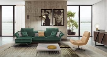 Canapé d'angle cuir ou tissu FLOWERBELLE avec chaise longue