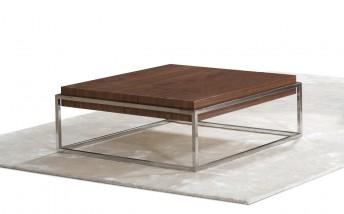 BB.SUGAR, table basse carréeen acier & bois couleur